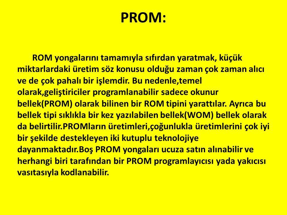 PROM: ROM yongalarını tamamıyla sıfırdan yaratmak, küçük miktarlardaki üretim söz konusu olduğu zaman çok zaman alıcı ve de çok pahalı bir işlemdir. B