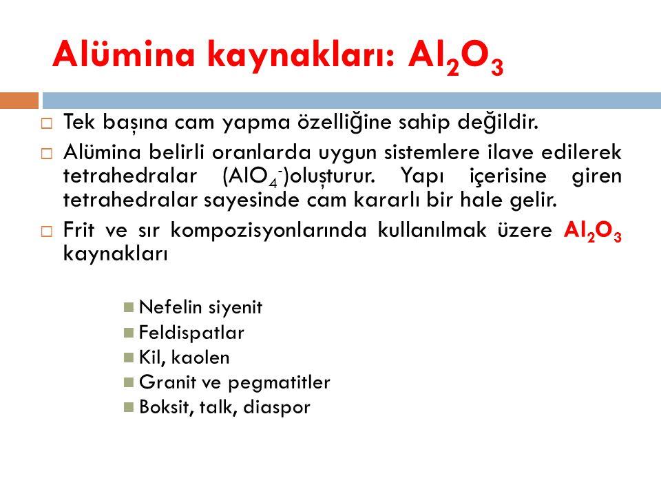 Alümina kaynakları: Al 2 O 3  Tek başına cam yapma özelli ğ ine sahip de ğ ildir.  Alümina belirli oranlarda uygun sistemlere ilave edilerek tetrahe