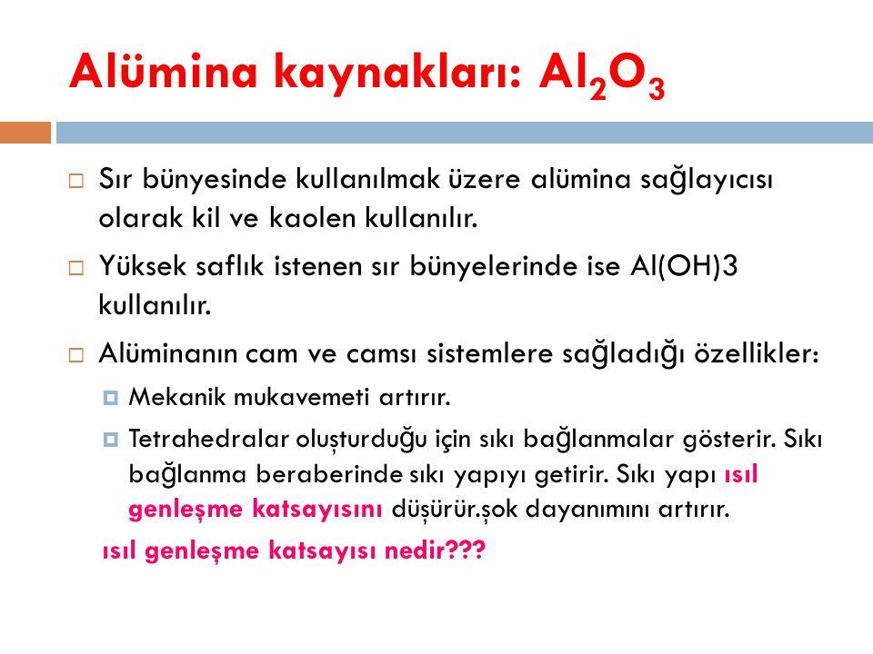  Sır bünyesinde kullanılmak üzere alümina sa ğ layıcısı olarak kil ve kaolen kullanılır.  Yüksek saflık istenen sır bünyelerinde ise Al(OH)3 kullanı
