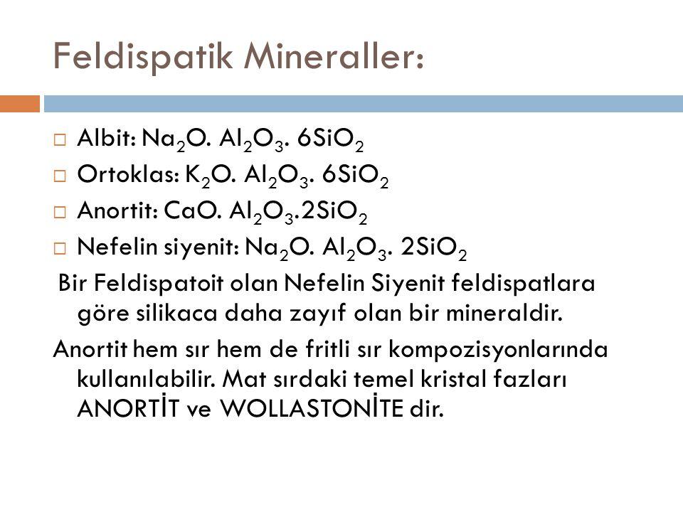 Feldispatik Mineraller:  Albit: Na 2 O. Al 2 O 3. 6SiO 2  Ortoklas: K 2 O. Al 2 O 3. 6SiO 2  Anortit: CaO. Al 2 O 3.2SiO 2  Nefelin siyenit: Na 2