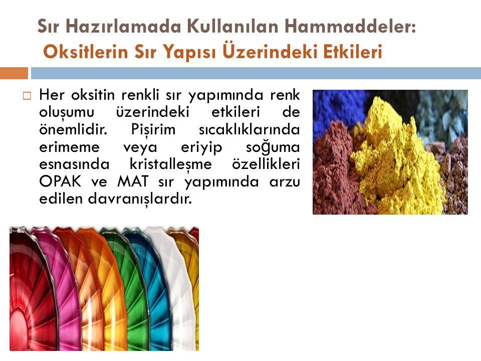  Her oksitin renkli sır yapımında renk oluşumu üzerindeki etkileri de önemlidir.