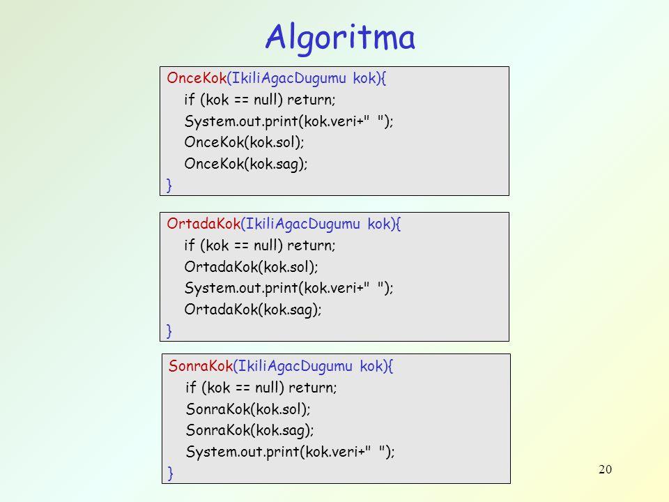 20 Algoritma OnceKok(IkiliAgacDugumu kok){ if (kok == null) return; System.out.print(kok.veri+