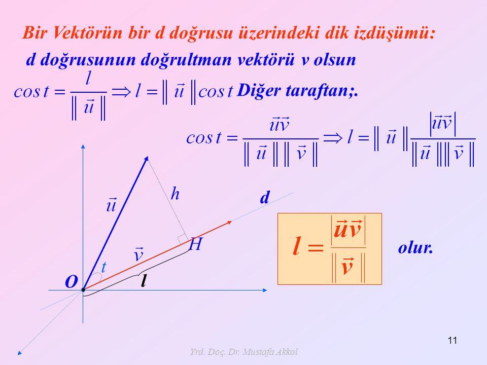 Yrd. Doç. Dr. Mustafa Akkol 11 Bir Vektörün bir d doğrusu üzerindeki dik izdüşümü: t H h Diğer taraftan;. olur. O d doğrusunun doğrultman vektörü v ol