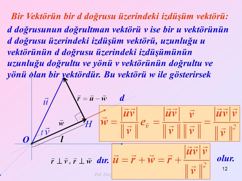 Yrd. Doç. Dr. Mustafa Akkol 12 Bir Vektörün bir d doğrusu üzerindeki izdüşüm vektörü: olur. d doğrusunun doğrultman vektörü v ise bir u vektörünün d d