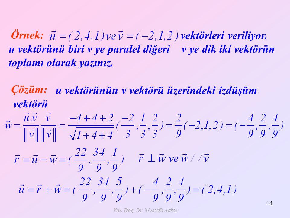 Yrd. Doç. Dr. Mustafa Akkol 14 Örnek: vektörleri veriliyor. u vektörünü biri v ye paralel diğeri v ye dik iki vektörün toplamı olarak yazınız. Çözüm: