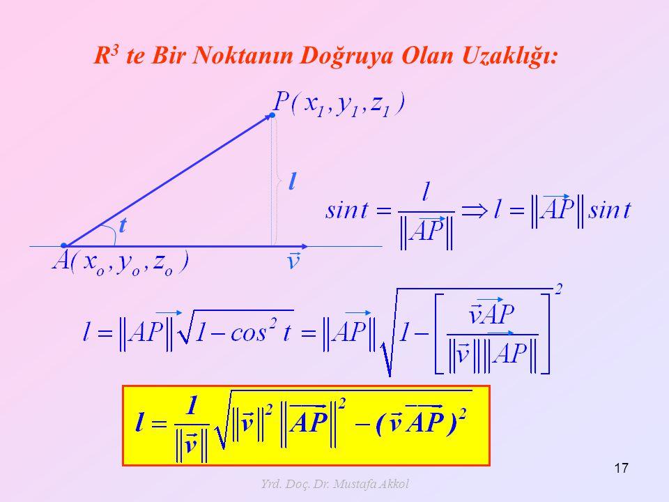 Yrd. Doç. Dr. Mustafa Akkol 17 R 3 te Bir Noktanın Doğruya Olan Uzaklığı: l t