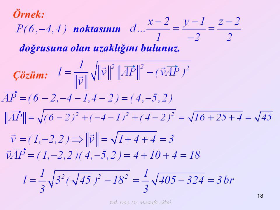 Yrd. Doç. Dr. Mustafa Akkol 18 Örnek: noktasının doğrusuna olan uzaklığını bulunuz. Çözüm:
