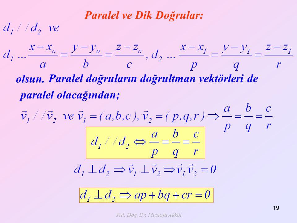 Yrd. Doç. Dr. Mustafa Akkol 19 Paralel ve Dik Doğrular: olsun. Paralel doğruların doğrultman vektörleri de paralel olacağından;