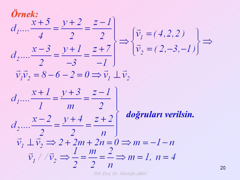 Yrd. Doç. Dr. Mustafa Akkol 20 Örnek: doğruları verilsin.