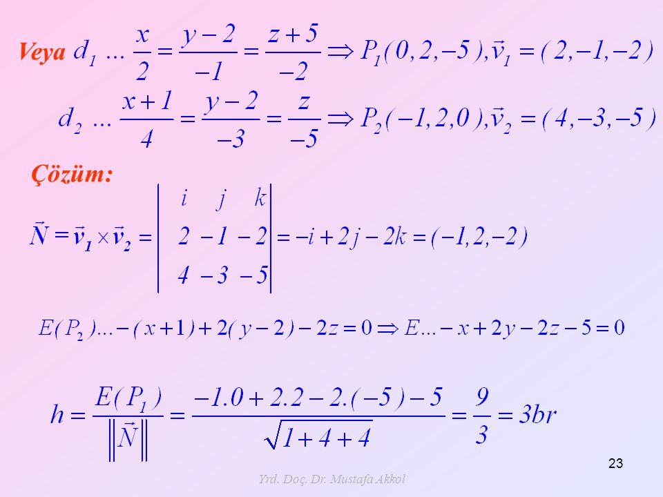 Yrd. Doç. Dr. Mustafa Akkol 23 Veya Çözüm: