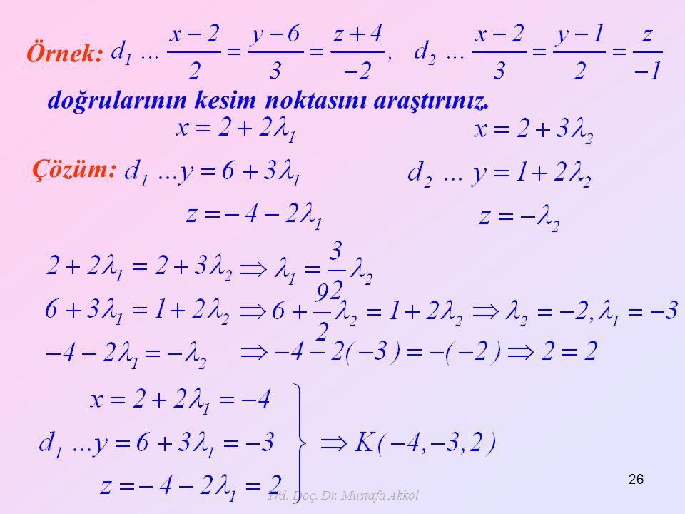 Yrd. Doç. Dr. Mustafa Akkol 26 doğrularının kesim noktasını araştırınız. Örnek: Çözüm: