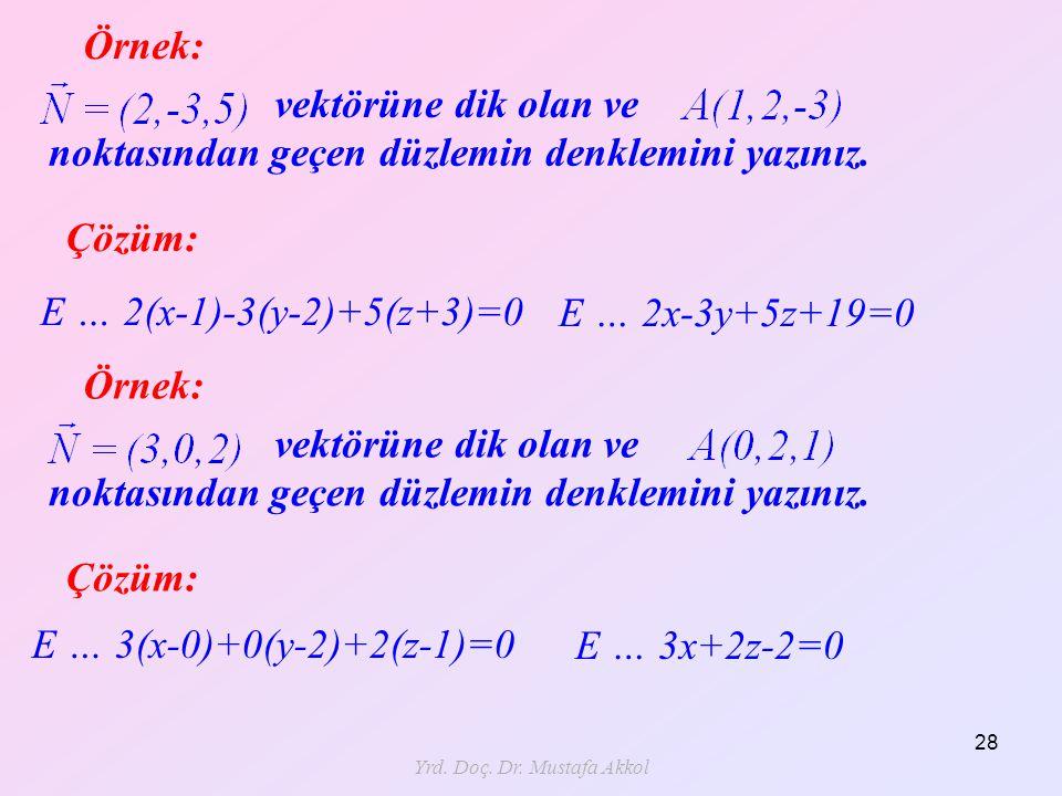 Yrd. Doç. Dr. Mustafa Akkol 28 Örnek: Çözüm: E … 2(x-1)-3(y-2)+5(z+3)=0 vektörüne dik olan ve noktasından geçen düzlemin denklemini yazınız. E … 2x-3y