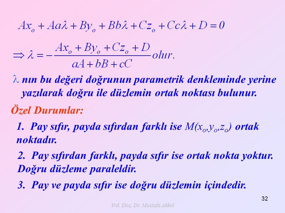 Yrd. Doç. Dr. Mustafa Akkol 32 nın bu değeri doğrunun parametrik denkleminde yerine yazılarak doğru ile düzlemin ortak noktası bulunur. Özel Durumlar: