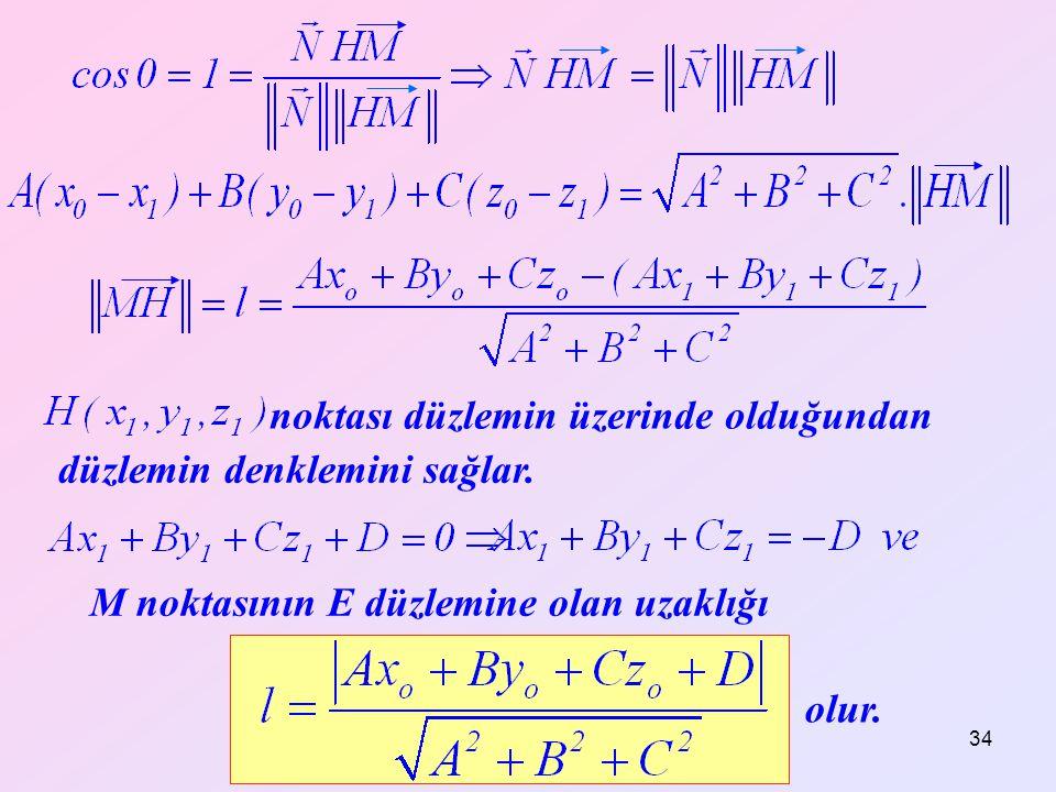 Yrd. Doç. Dr. Mustafa Akkol 34 düzlemin denklemini sağlar. noktası düzlemin üzerinde olduğundan olur. M noktasının E düzlemine olan uzaklığı
