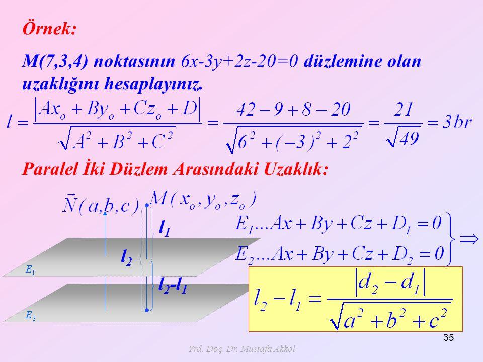 Yrd. Doç. Dr. Mustafa Akkol 35 Örnek: M(7,3,4) noktasının 6x-3y+2z-20=0 düzlemine olan uzaklığını hesaplayınız. Paralel İki Düzlem Arasındaki Uzaklık: