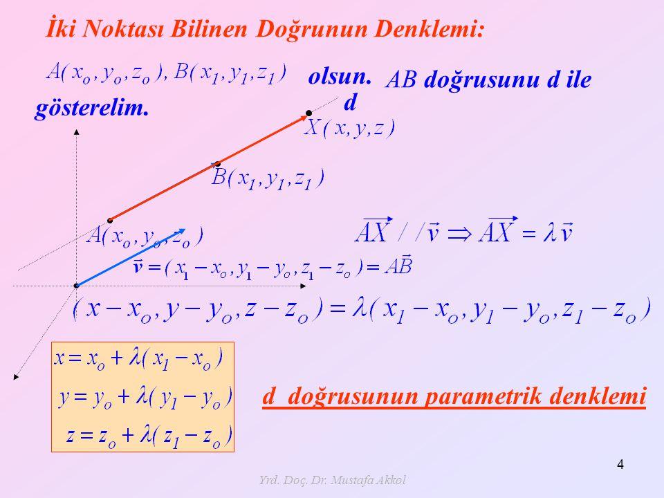 Yrd. Doç. Dr. Mustafa Akkol 4 İki Noktası Bilinen Doğrunun Denklemi: olsun. AB doğrusunu d ile gösterelim. d d doğrusunun parametrik denklemi