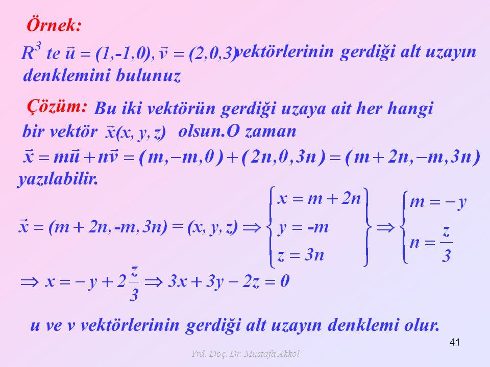 Yrd. Doç. Dr. Mustafa Akkol 41 Örnek: Çözüm: denklemini bulunuz vektörlerinin gerdiği alt uzayın Bu iki vektörün gerdiği uzaya ait her hangi bir vektö