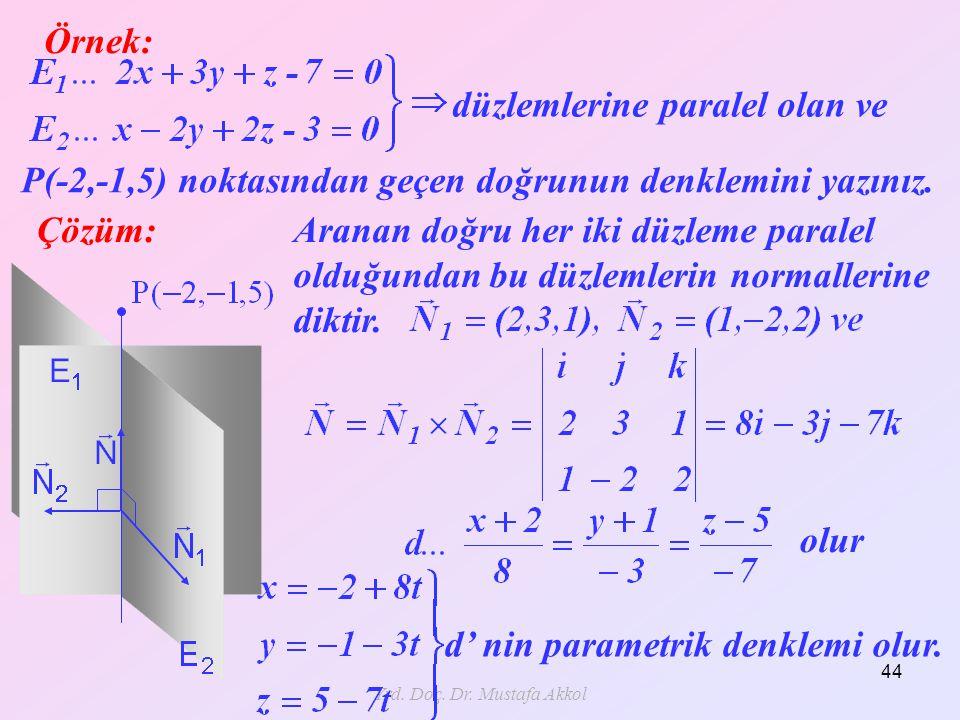Yrd. Doç. Dr. Mustafa Akkol 44 Örnek: Çözüm: düzlemlerine paralel olan ve P(-2,-1,5) noktasından geçen doğrunun denklemini yazınız. Aranan doğru her i