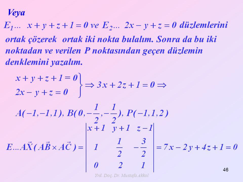 Yrd. Doç. Dr. Mustafa Akkol 46 Veya düzlemlerini ortak çözerek ortak iki nokta bulalım. Sonra da bu iki noktadan ve verilen P noktasından geçen düzlem