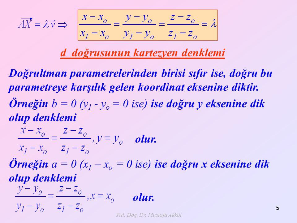 Yrd. Doç. Dr. Mustafa Akkol 5 d doğrusunun kartezyen denklemi Doğrultman parametrelerinden birisi sıfır ise, doğru bu parametreye karşılık gelen koord