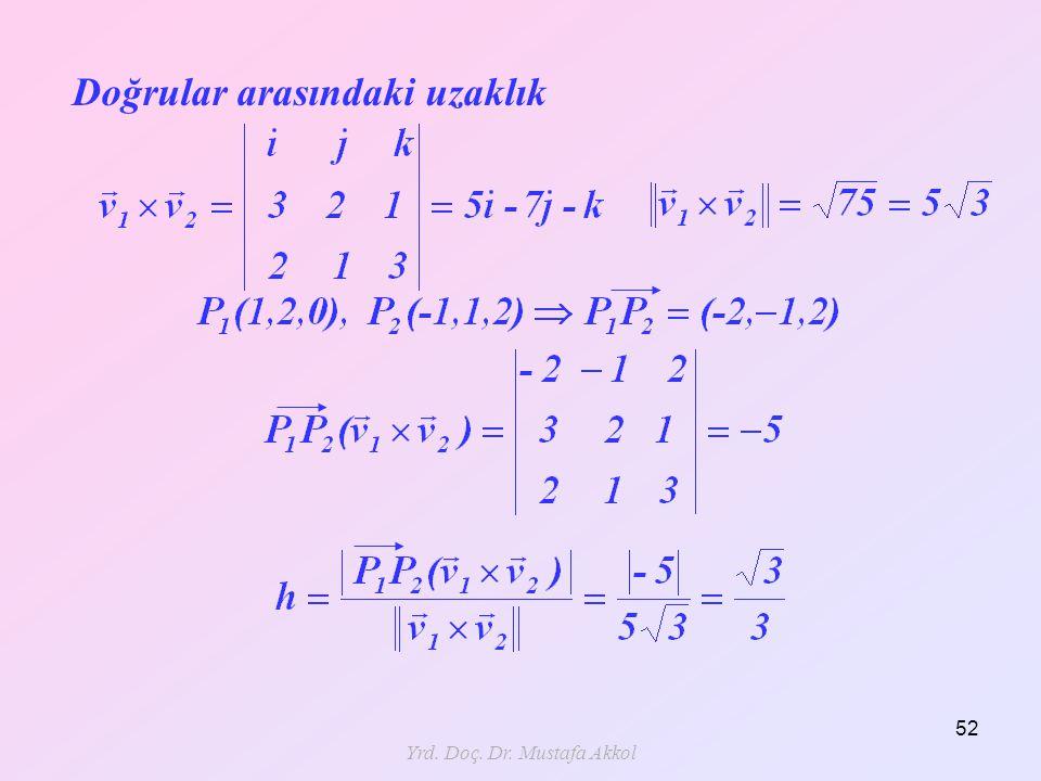 Yrd. Doç. Dr. Mustafa Akkol 52 Doğrular arasındaki uzaklık
