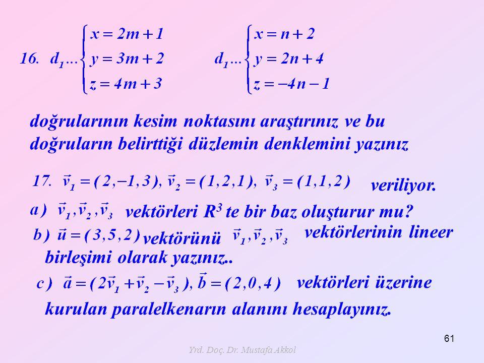 Yrd. Doç. Dr. Mustafa Akkol 61 doğrularının kesim noktasını araştırınız ve bu doğruların belirttiği düzlemin denklemini yazınız veriliyor. kurulan par