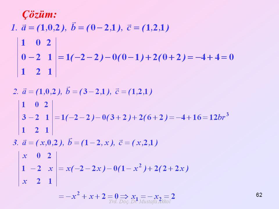 Yrd. Doç. Dr. Mustafa Akkol 62 Çözüm: