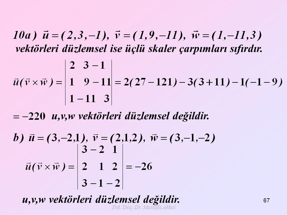 Yrd. Doç. Dr. Mustafa Akkol 67 vektörleri düzlemsel ise üçlü skaler çarpımları sıfırdır. u,v,w vektörleri düzlemsel değildir.