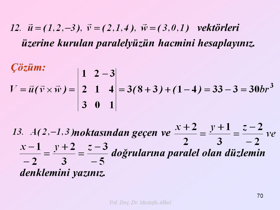 Yrd. Doç. Dr. Mustafa Akkol 70 Çözüm: üzerine kurulan paralelyüzün hacmini hesaplayınız. vektörleri noktasından geçen ve doğrularına paralel olan düzl