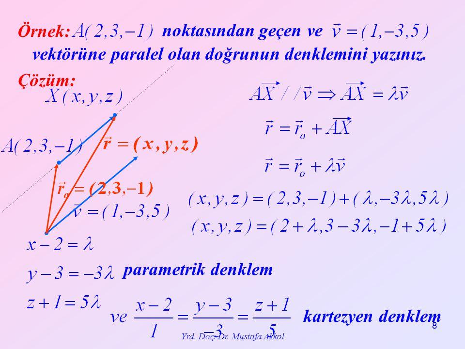 8 Örnek: noktasından geçen ve vektörüne paralel olan doğrunun denklemini yazınız. Çözüm: parametrik denklem kartezyen denklem