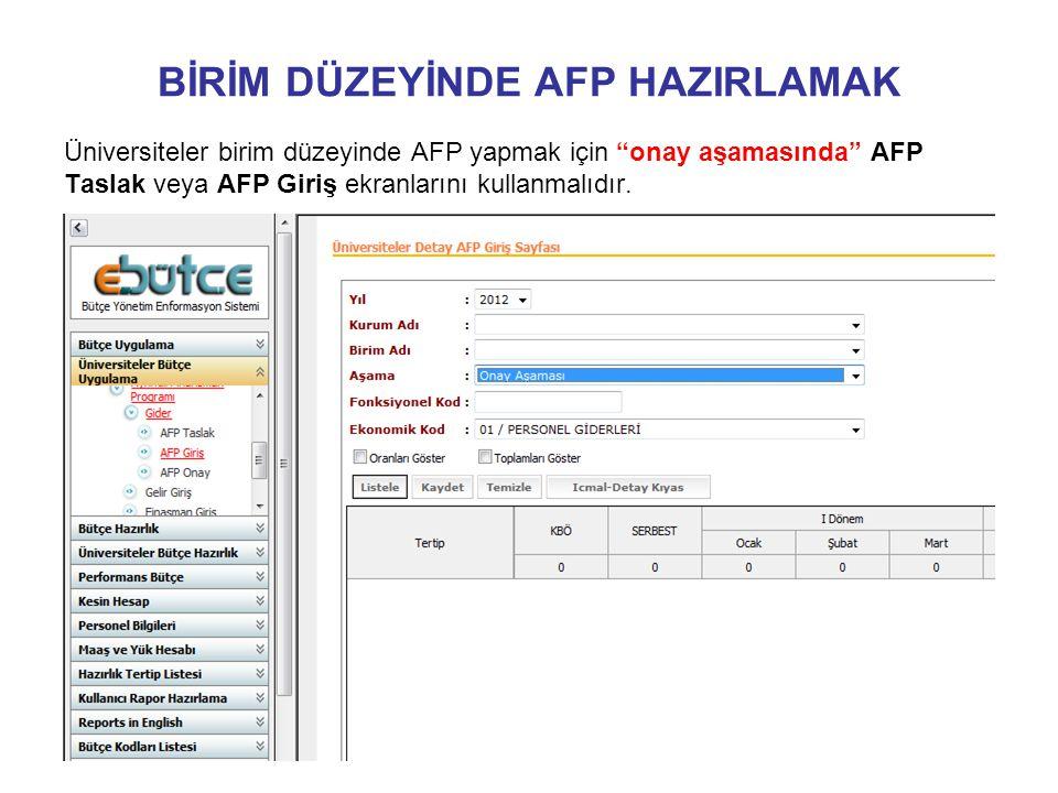 BİRİM DÜZEYİNDE AFP HAZIRLAMAK Üniversiteler birim düzeyinde AFP yapmak için onay aşamasında AFP Taslak veya AFP Giriş ekranlarını kullanmalıdır.