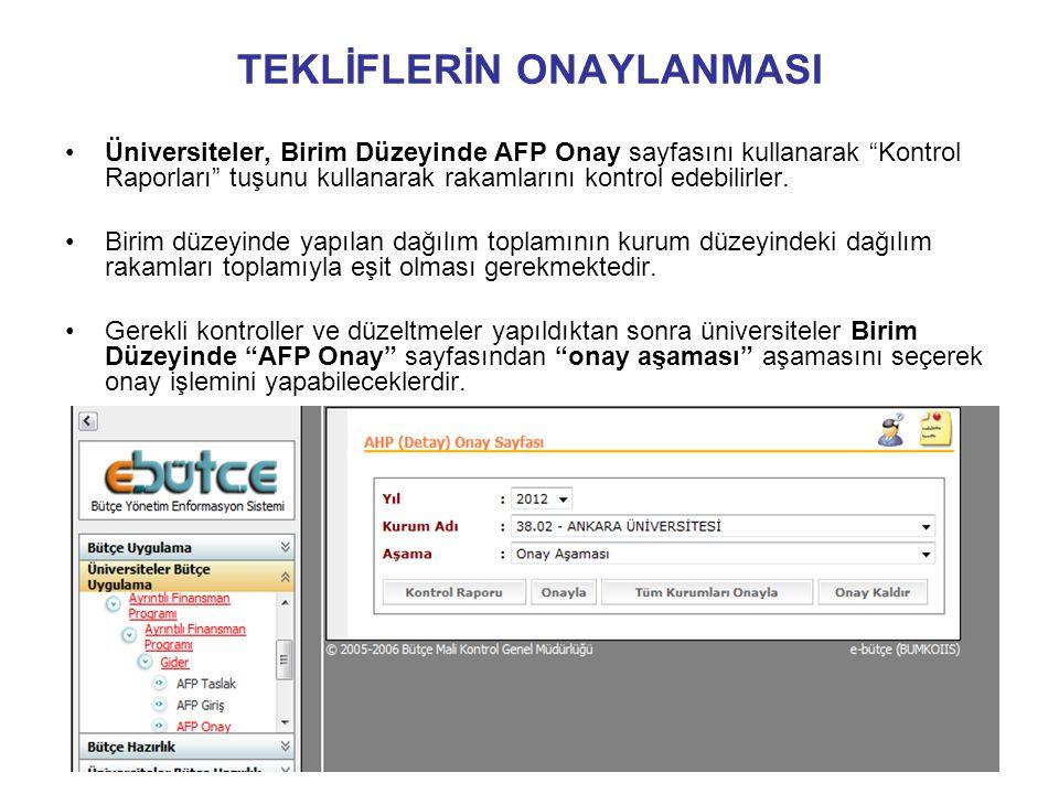 TEKLİFLERİN ONAYLANMASI •Üniversiteler, Birim Düzeyinde AFP Onay sayfasını kullanarak Kontrol Raporları tuşunu kullanarak rakamlarını kontrol edebilirler.