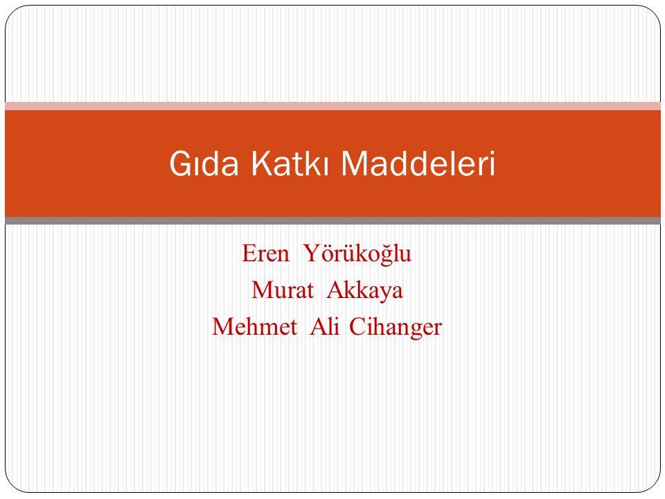 Eren Yörükoğlu Murat Akkaya Mehmet Ali Cihanger Gıda Katkı Maddeleri