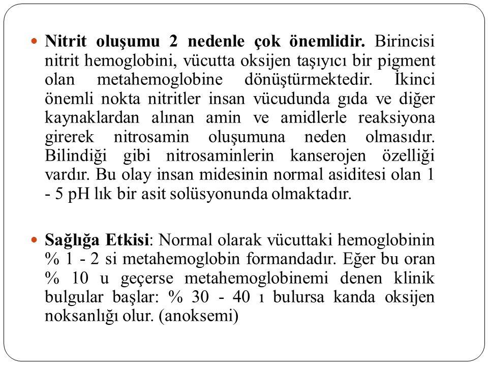  Nitrit oluşumu 2 nedenle çok önemlidir. Birincisi nitrit hemoglobini, vücutta oksijen taşıyıcı bir pigment olan metahemoglobine dönüştürmektedir. İk