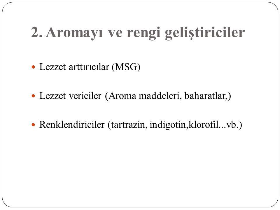 2. Aromayı ve rengi geliştiriciler  Lezzet arttırıcılar (MSG)  Lezzet vericiler (Aroma maddeleri, baharatlar,)  Renklendiriciler (tartrazin, indigo
