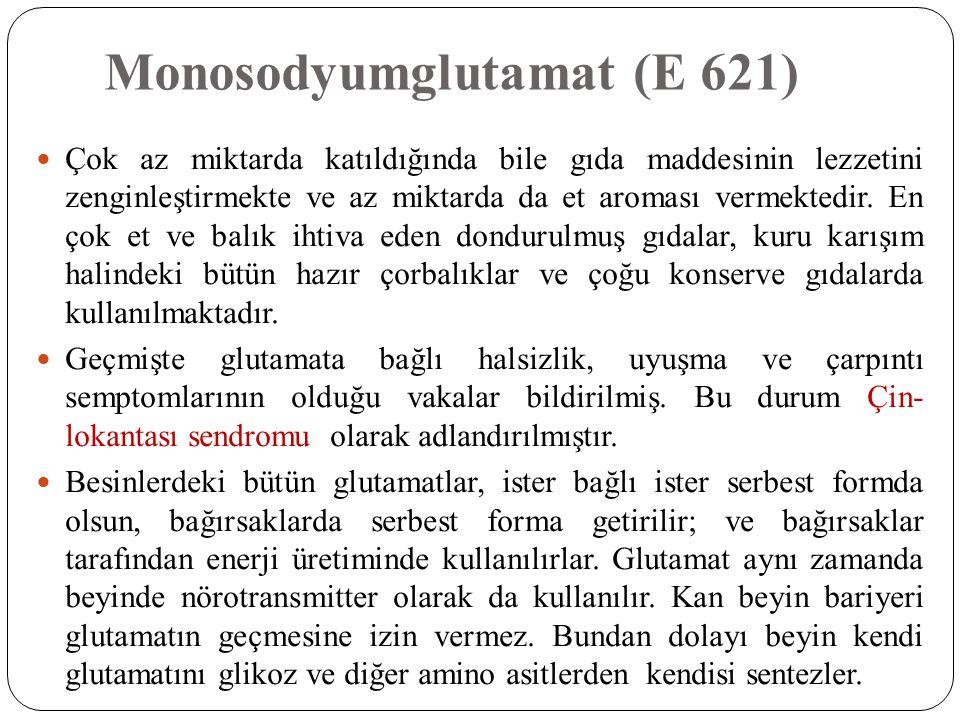 Monosodyumglutamat (E 621)  Çok az miktarda katıldığında bile gıda maddesinin lezzetini zenginleştirmekte ve az miktarda da et aroması vermektedir. E