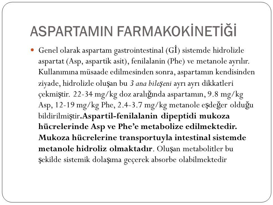 ASPARTAMIN FARMAKOKİNETİĞİ  Genel olarak aspartam gastrointestinal (G İ ) sistemde hidrolizle aspartat (Asp, aspartik asit), fenilalanin (Phe) ve met
