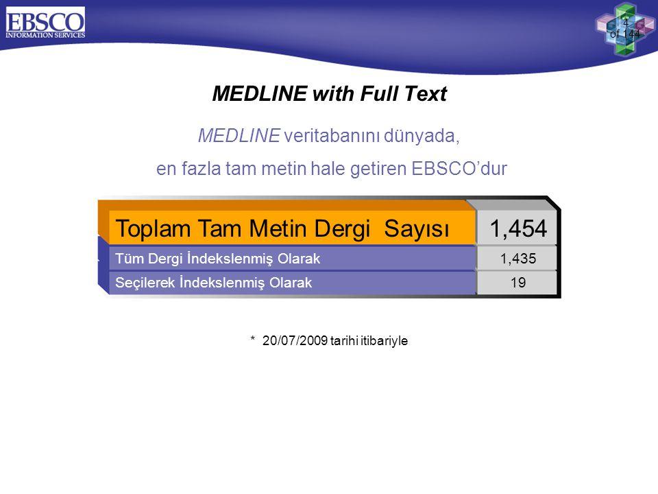 4 of 144 MEDLINE with Full Text * 20/07/2009 tarihi itibariyle Toplam Tam Metin Dergi Sayısı1,454 Tüm Dergi İndekslenmiş Olarak1,435 Seçilerek İndeksl