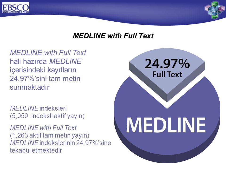 5 of 144 MEDLINE with Full Text MEDLINE with Full Text hali hazırda MEDLINE içerisindeki kayıtların 24.97%'sini tam metin sunmaktadır MEDLINE indeksle