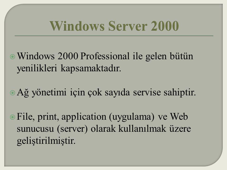  Windows 2000 Server işletim sistemi Windows NT 4.0 ın gelişmiş özellikleri üzerine kurulmuştur.