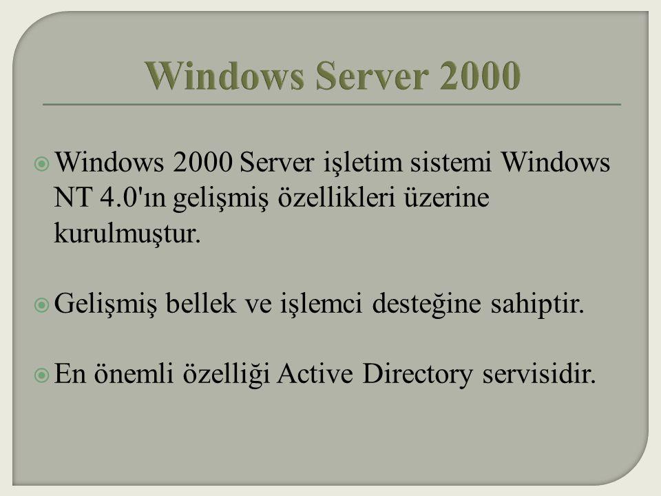  Active Directory, Windows 2000 ağı içinde bir servistir.
