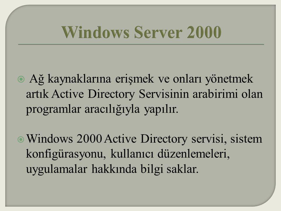  Policy düzenlemeleriyle birlikte sistem yöneticileri kullanıcıların masaüstlerini (dağıtım masaüstü yönetimi), ağ servislerini ve yazılımlarını (uygulamaları) merkezi olarak bir noktadan yönetebilir.