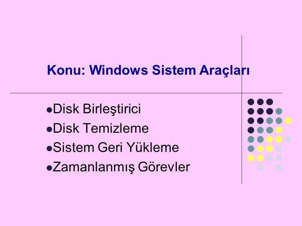 Konu: Windows Sistem Araçları  Disk Birleştirici  Disk Temizleme  Sistem Geri Yükleme  Zamanlanmış Görevler