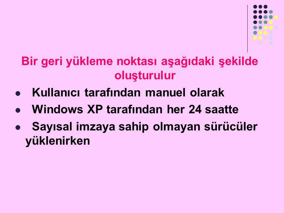 Windows XP altında geri yükleme noktası oluşturmak  Geri Yükleme fonksiyonunu BAşLAT/YARDIM VE DESTEK\SİSTEM YAPILANDIRMA HİZMET PROGRAMI\SİSTEM YAPILANDIRMA HİZMET PROGRAMINI BAşLAT bağlantısına tıklayarak açabilirsiniz.
