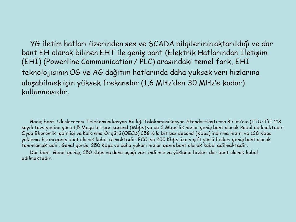 YG iletim hatları üzerinden ses ve SCADA bilgilerinin aktarıldığı ve dar bant EH olarak bilinen EHT ile geniş bant (Elektrik Hatlarından İletişim (EHİ