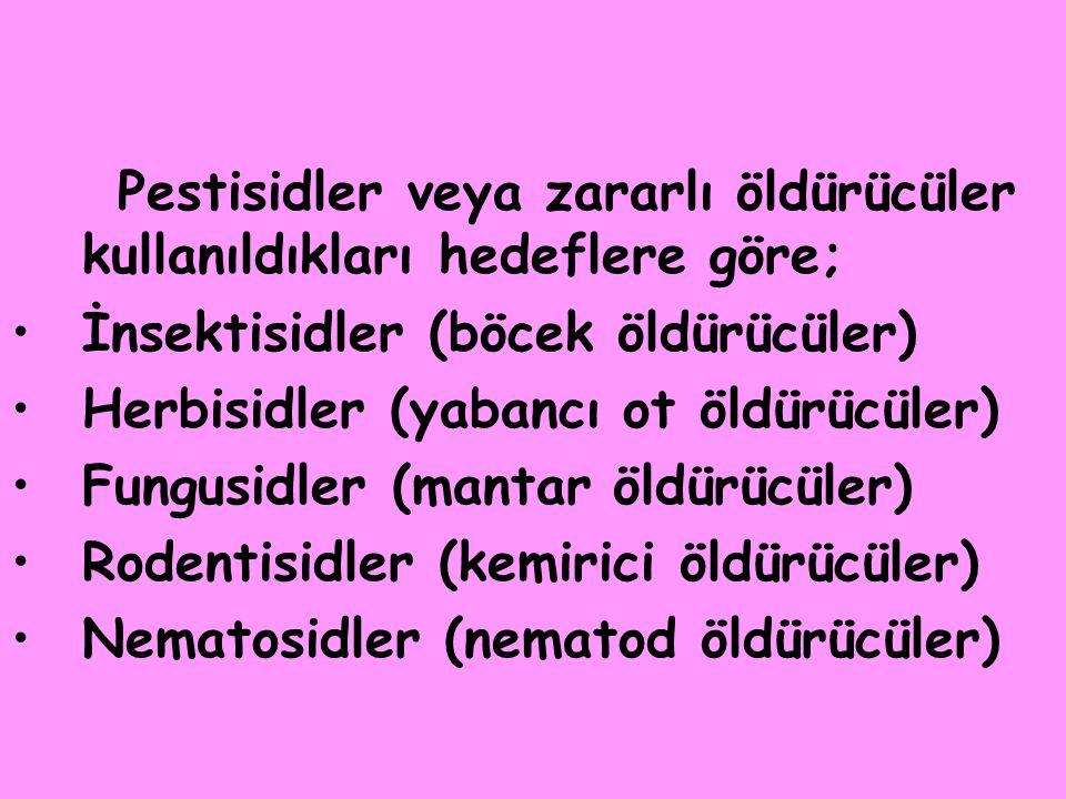 Pestisidler veya zararlı öldürücüler kullanıldıkları hedeflere göre; •İnsektisidler (böcek öldürücüler) •Herbisidler (yabancı ot öldürücüler) •Fungusidler (mantar öldürücüler) •Rodentisidler (kemirici öldürücüler) •Nematosidler (nematod öldürücüler)