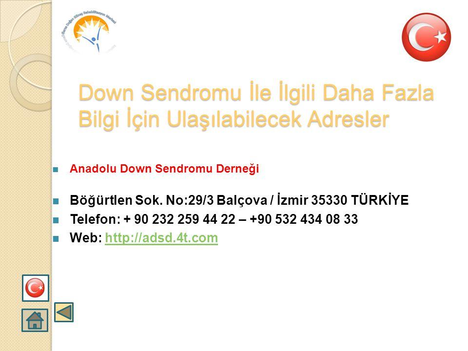 Down Sendromu Derneği  Adres: Taşocakları cad. Mirim Çelebi Sok. N:22 D:7/b Hasanpaşa- Kadıköy  Telefon: 0 216 326 28 35 - 0 533 579 85 65  Gönül