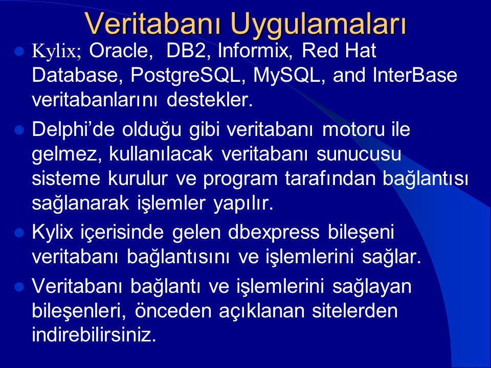 Veritabanı Uygulamaları  Kylix; Oracle, DB2, Informix, Red Hat Database, PostgreSQL, MySQL, and InterBase veritabanlarını destekler.  Delphi'de oldu