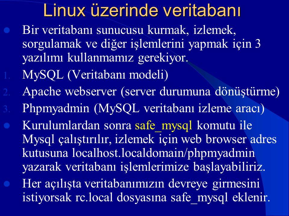 Linux üzerinde veritabanı  Bir veritabanı sunucusu kurmak, izlemek, sorgulamak ve diğer işlemlerini yapmak için 3 yazılımı kullanmamız gerekiyor. 1.