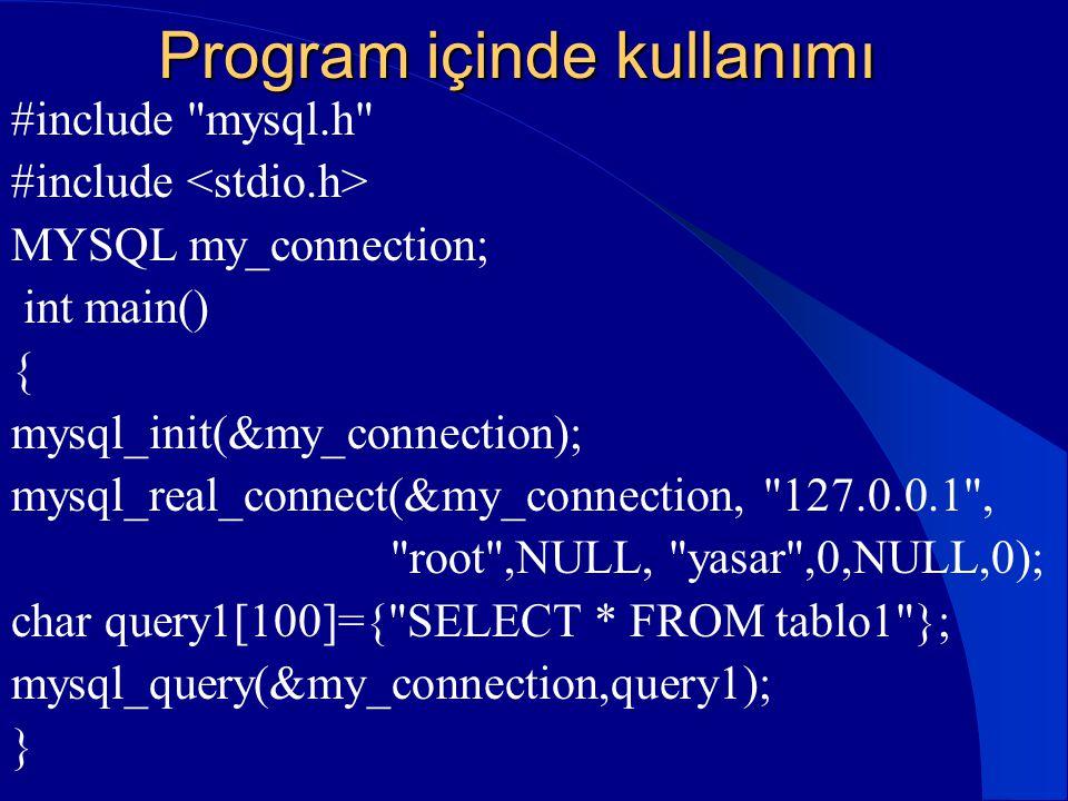 Program içinde kullanımı #include
